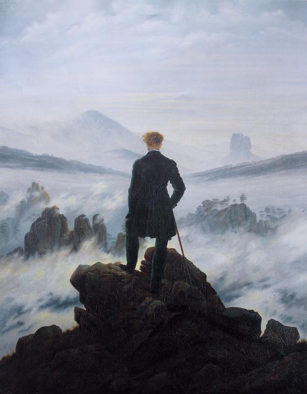 """Kunstbilledet """"Vandreren over tågehavet"""" af Caspar David Friedrich er en klassiker i romantikken."""