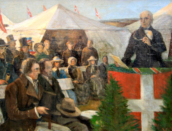 På Himmelbjerget holdt St. St. Blicher i 1839 dansk folkemøde for første gang.