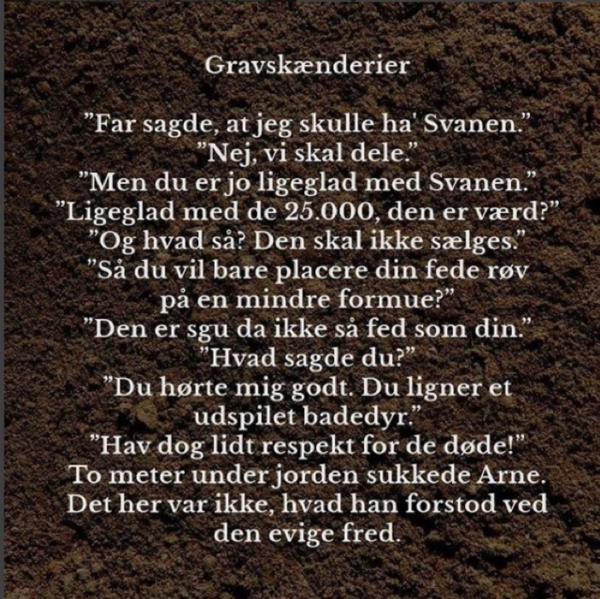 """I Amdi Silverestis kortprosatekst """"Gravskænderier"""" fortælles en historie med brug af under 100 ord."""